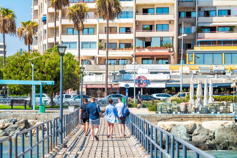 LIMASSOL, CYPRUS- September 28, 2018: Enaerios Seafront, view from old wooden pier stock photo