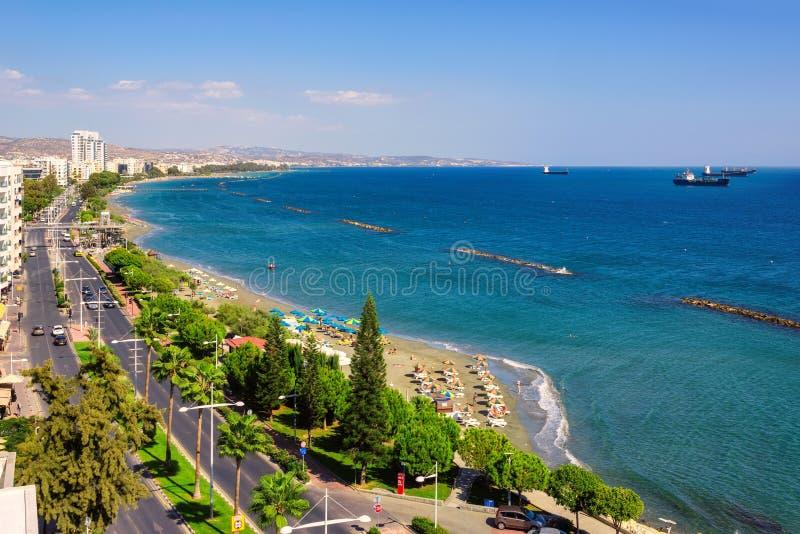 Limassol kustlijn luchtmening, Cyprus royalty-vrije stock fotografie
