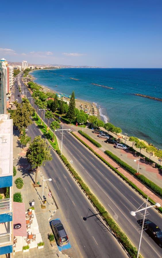 Limassol linii brzegowej widok z lotu ptaka, Cypr fotografia royalty free