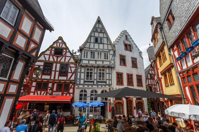 Half-timbered facades of the old town of Limburg, Germany. LIMBURG / GERMANY - JUNE 2015: Half-timbered facades of the old town of Limburg, Germany royalty free stock photo