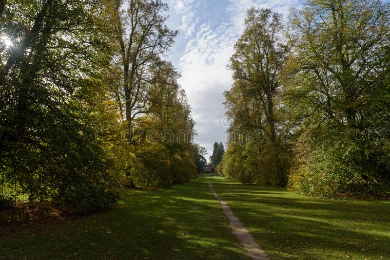 Lime Avenue path with house at Nowton Park in autumn stock photo