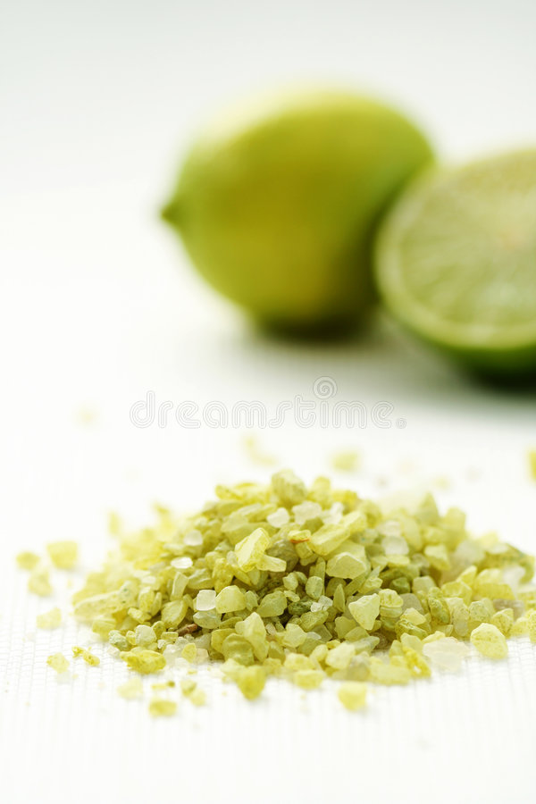 Lime bath salt royalty free stock image