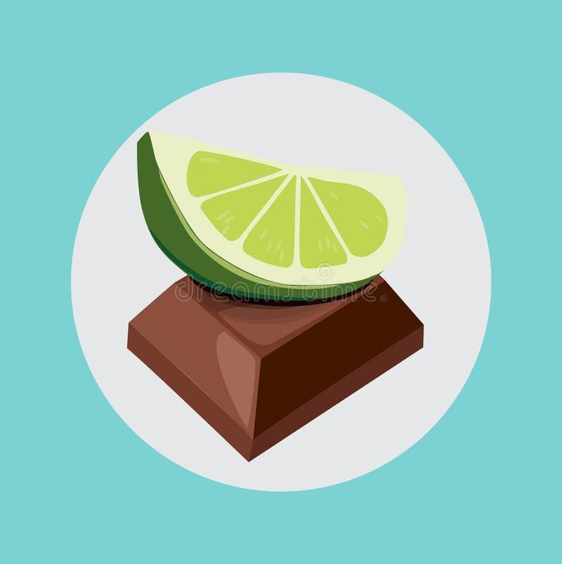Lime on chocolate piece flat design. Single lime on chocolate piece flat design stock illustration