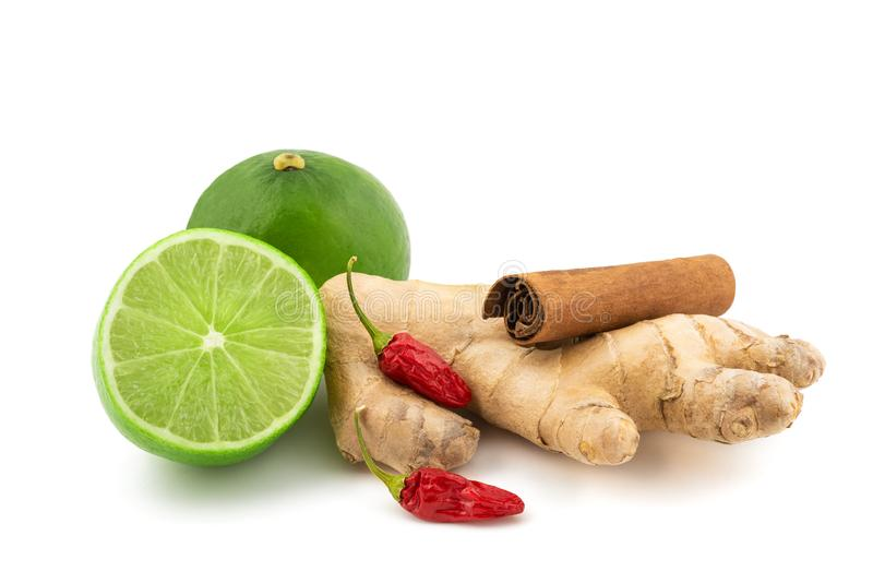 Lime,cinnamon,ginger and chili royalty free stock image