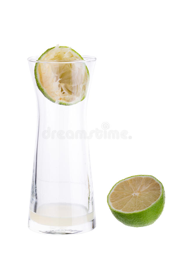 Lime crush and lime with half cross section isolated on white ba. Ckground stock photography
