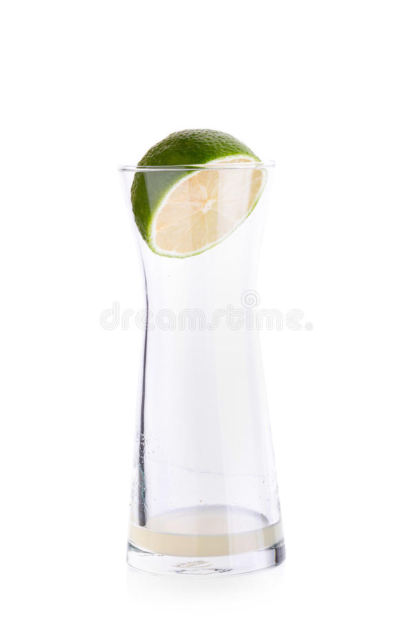 Lime crush and lime with half cross section isolated on white ba. Ckground royalty free stock image