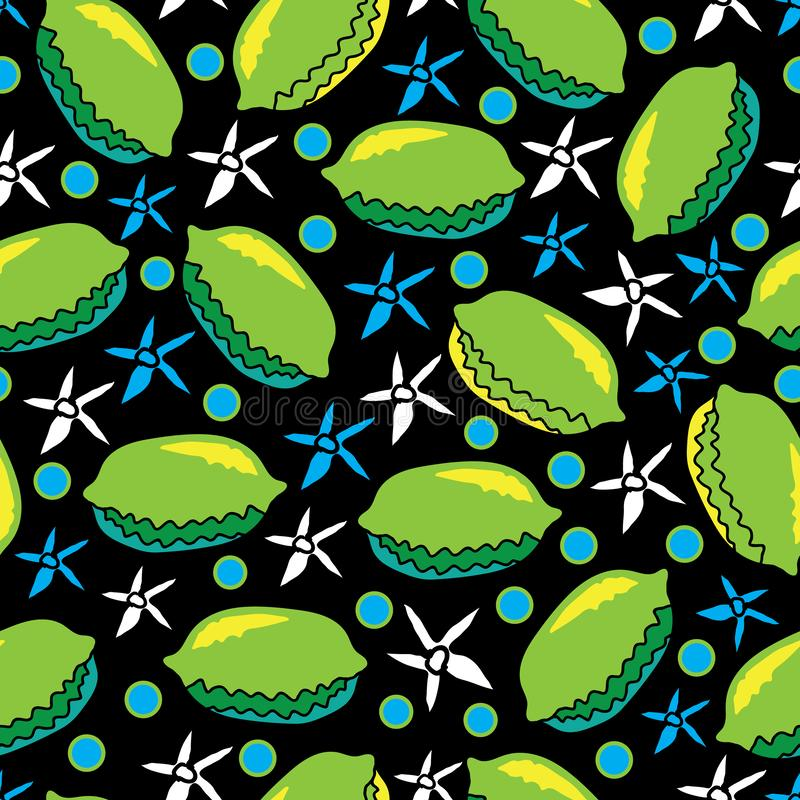 Lime and Flowers-Fruit Delight seamless Repeat Pattern illustration.Background in green, blue, yellow, black and white stock illustration