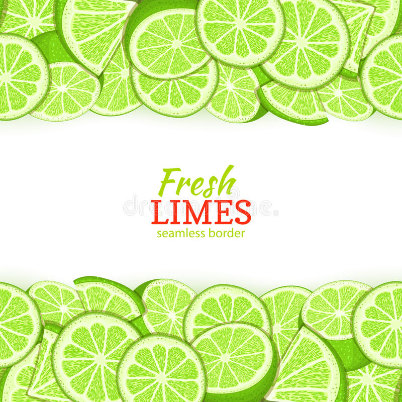 Lime fruit Horizontal seamless border. Vector illustration card top and bottom Fresh tropicat green lemon whole and royalty free illustration