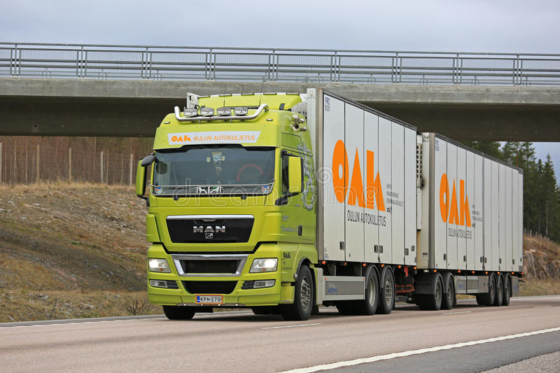 Lime Green MAN Truck for Refrigerated Transport stock photo