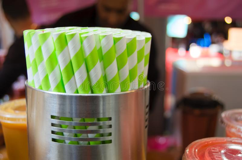 Drinking straws in container stock image