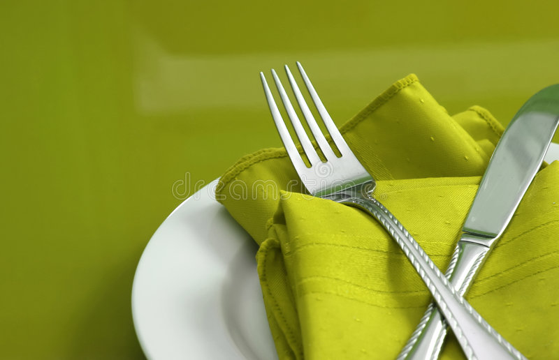 Download Lime Green Table Setting stock photo. Image of napkin - 4011258