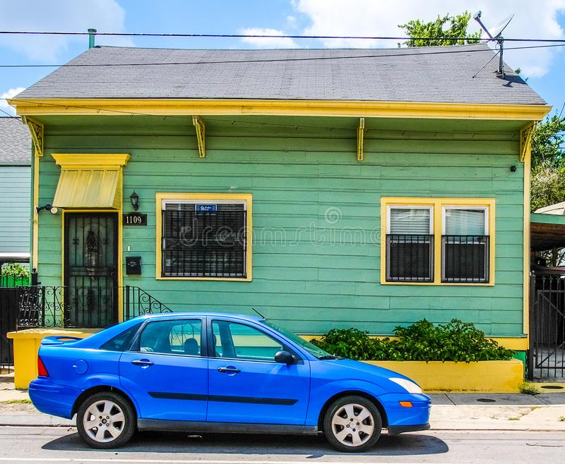 Lime Green and Yellow House in New Orleans, Louisiana 7th Ward. A lime green and yellow house in New Orleans, Louisiana, USA 7th Ward Treme. Wood exterior with stock photos