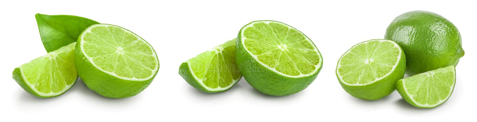 Lime with half and leaf isolated on white background. Set or collection royalty free stock photo