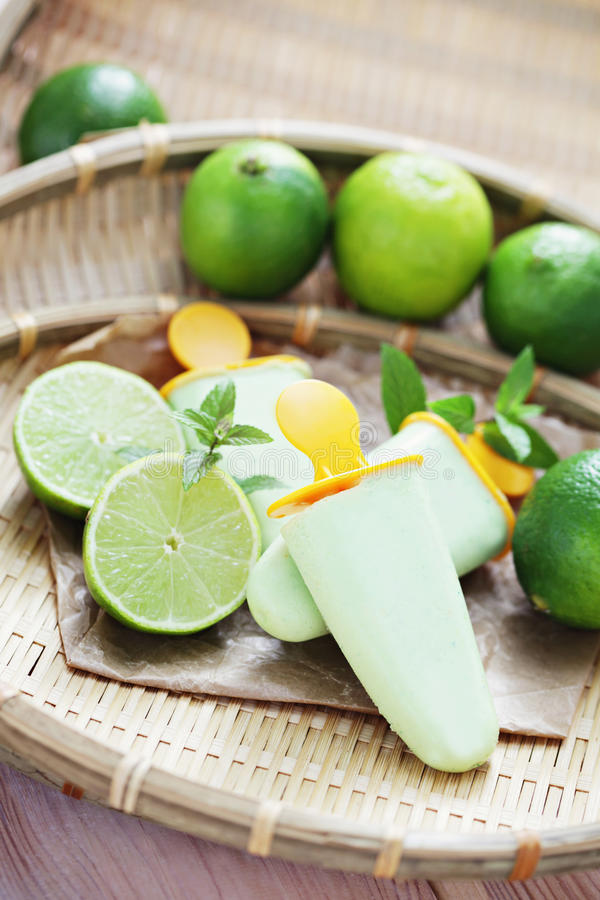 Lime ice-cream stock images