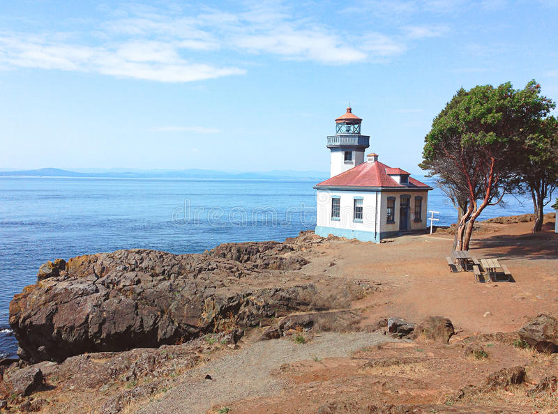 Lime Kiln Lighthouse, Friday harbor, Washington. Beautiful lighthouse located at Lime Kiln State park in Friday Harbor, one of the San Juan Islands in Washington stock photos