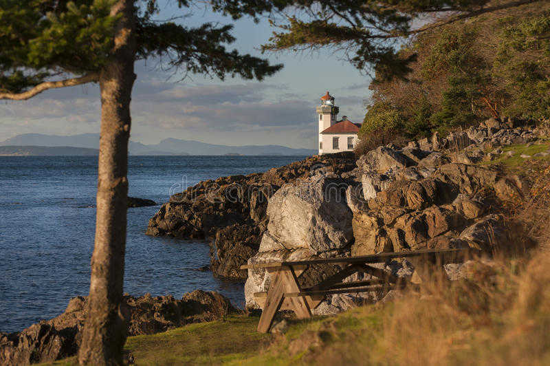Lime Kiln Lighthouse. The Lime Kiln Light is a functioning navigational aid located on Lime Kiln Point overlooking Dead Man's Bay on the western side of San Juan royalty free stock photo