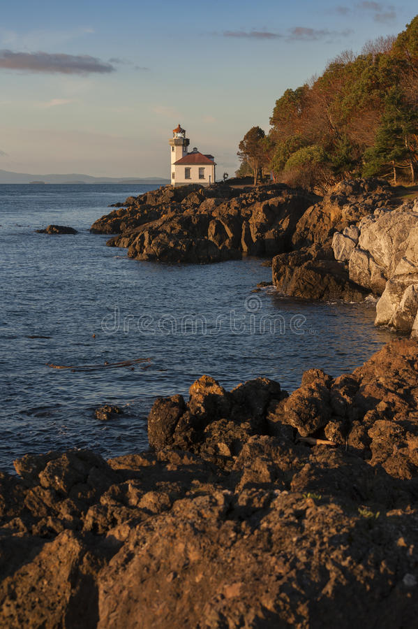 Lime Kiln Lighthouse. The Lime Kiln Light is a functioning navigational aid located on Lime Kiln Point overlooking Dead Man's Bay on the western side of San Juan stock photo
