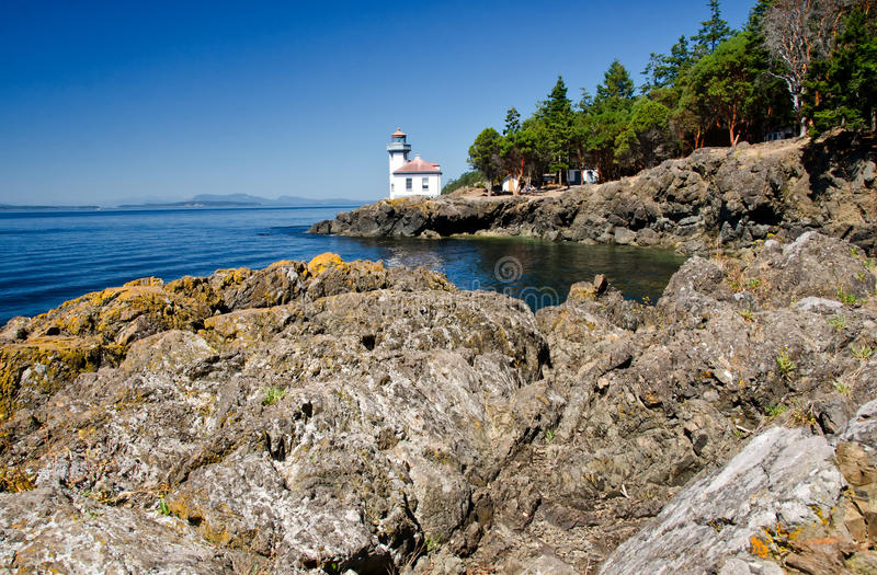 Lime Kiln Lighthouse, USA. Lime Kiln Lighthouse is located in the San Juan Islands, Washington State, USA royalty free stock photography