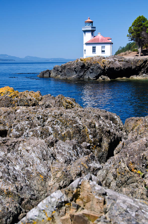 Lime Kiln Lighthouse, USA. Lime Kiln Lighthouse is located in the San Juan Islands, Washington State, USA stock photo