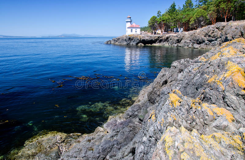 Lime Kiln Lighthouse, USA. Lime Kiln Lighthouse is located in the San Juan Islands, Washington State, USA stock image