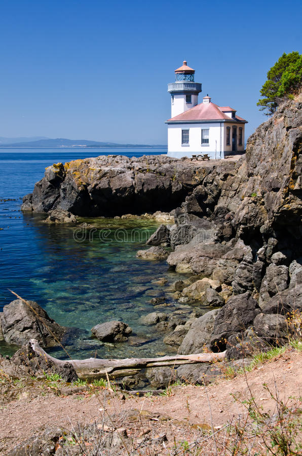 Lime Kiln Lighthouse, USA. Lime Kiln Lighthouse is located in the San Juan Islands, Washington State, USA royalty free stock image
