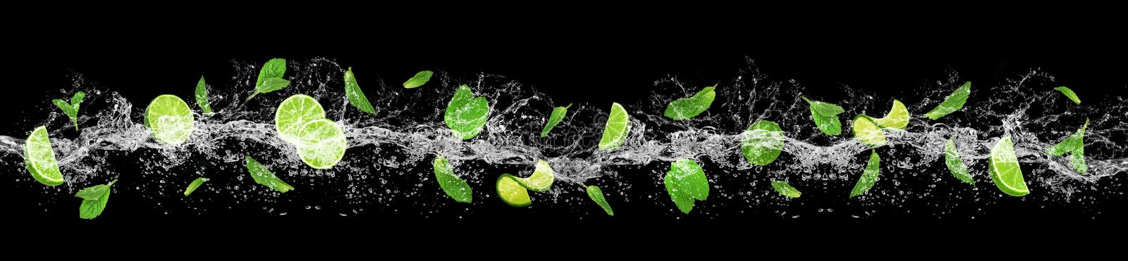 Lime, leaves And water splash stock photos