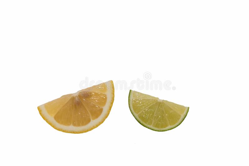 Lime and lemon are cut sliced. stock photo