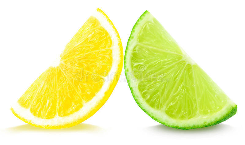 Lime and lemon. Lemon and lime slice isolated on white stock photo