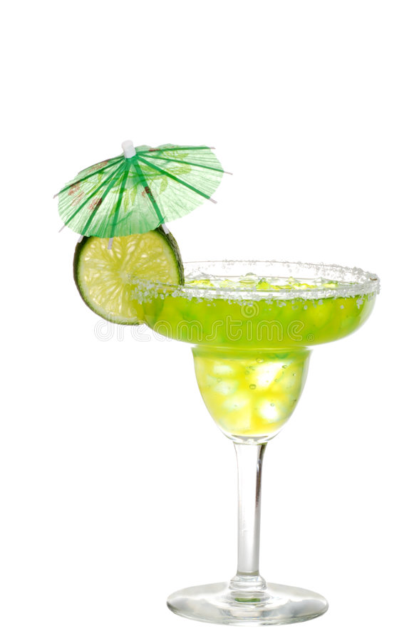Lime margarita with an umbrella. Isolated Lime margarita with an umbrella on a white background royalty free stock images