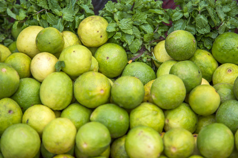 Lime and mint on the market. In Mumbai, India stock photo