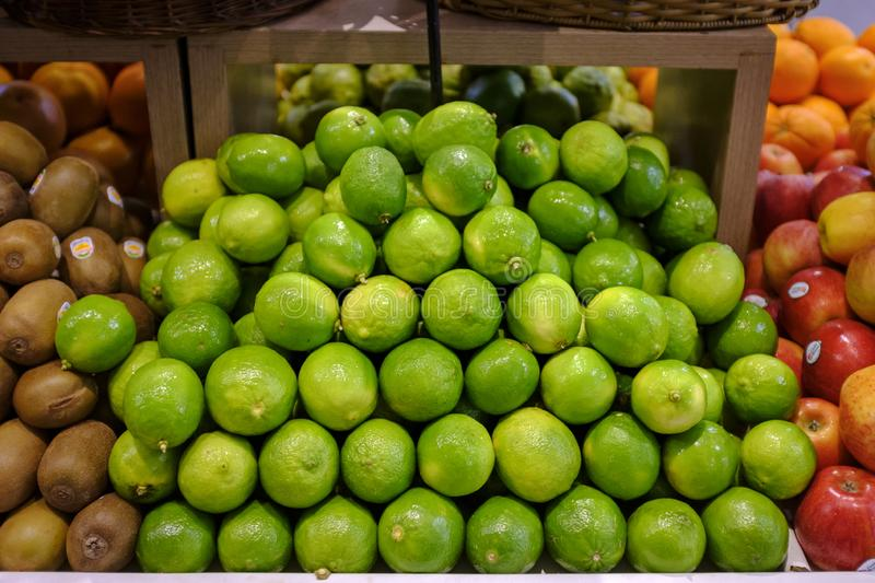 Lime natural  for sale in the market royalty free stock photos