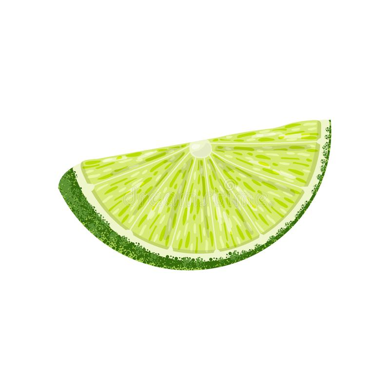 Lime slice isolated on white. stock illustration
