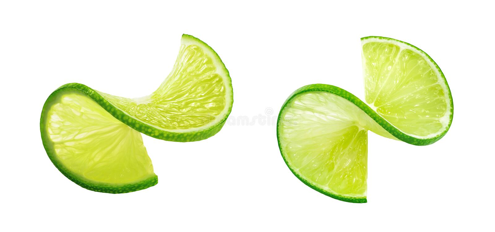 LIme slice twist isolated on white background stock image