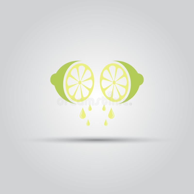 Lime sliced and drop of juice isolated vector icon. Lime sliced in half and from which flow a drop of juice isolated vector colored icon vector illustration