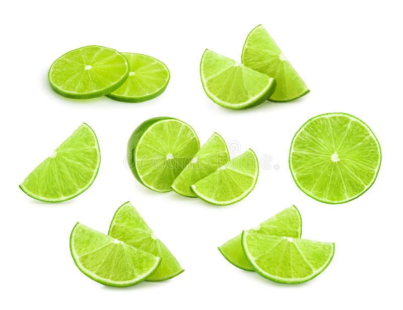 Lime slices isolated royalty free stock photography