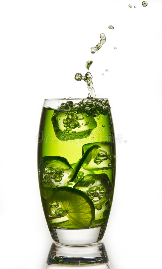 Lime with a splash stock images