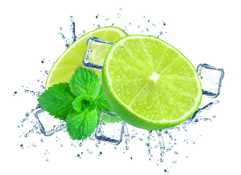 Lime splash water stock images