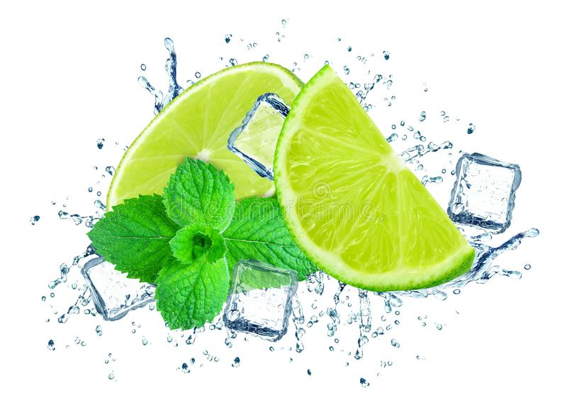 Lime splash water royalty free stock images