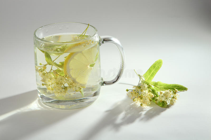 Lime tea with lemon in a glass cup stock photo