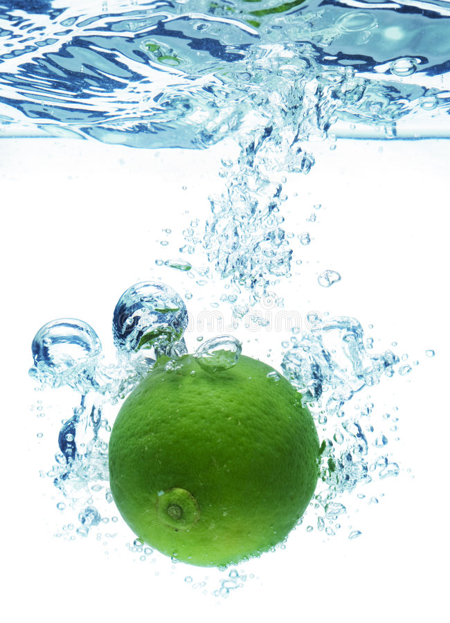 Lime in water royalty free stock photo