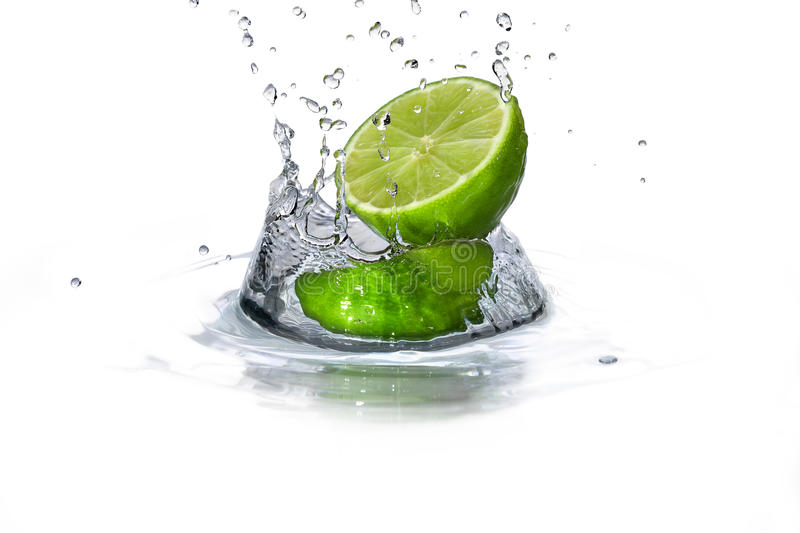 Lime and water drop stock photo