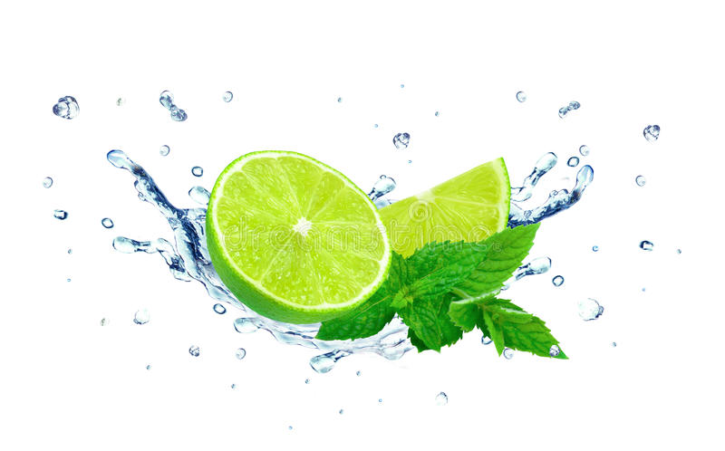 Lime and water splash royalty free stock image