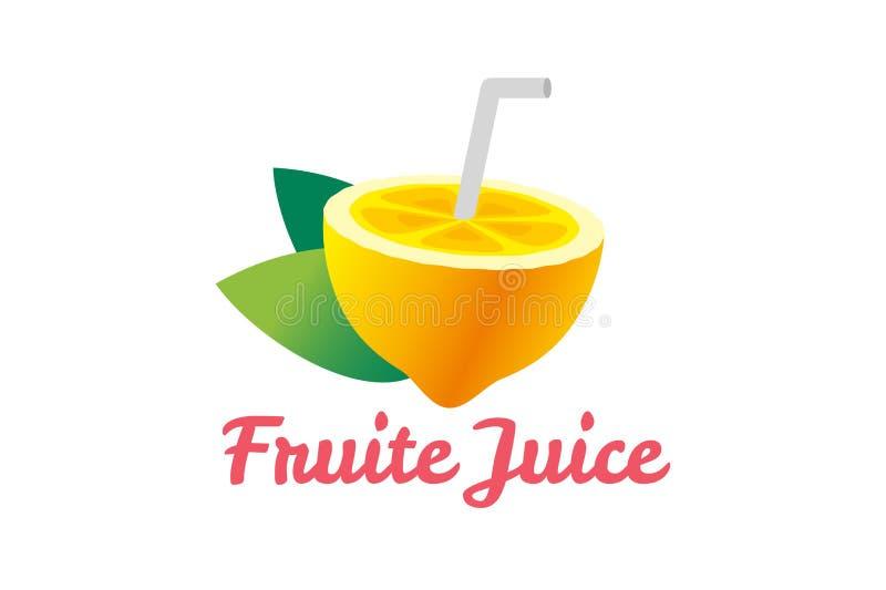 Limefrukt- eller citronfruktskiva Lemonadfruktsaftlogo stock illustrationer