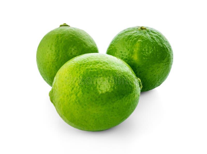 limefrukt Ny frukt med bladet som isoleras på vit bakgrund royaltyfria foton