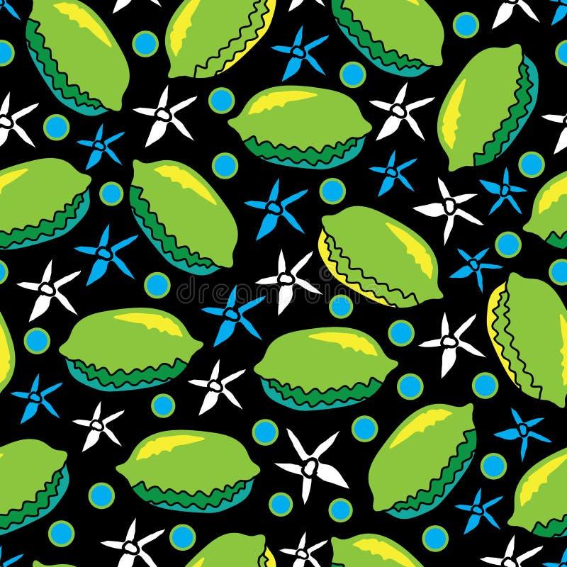 Limefrukt och Blomma-frukt gläder den sömlösa repetitionmodellillustrationen Bakgrund i grönt, blått, gult, svartvitt stock illustrationer