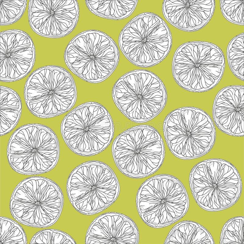 Limefrukt skivar den sömlösa modellen i svartvitt på bakgrund för gul gräsplan royaltyfri illustrationer