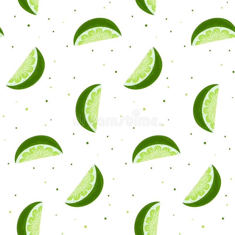 Limefrukt skivar den sömlösa modellen vektortryckdesign vektor illustrationer