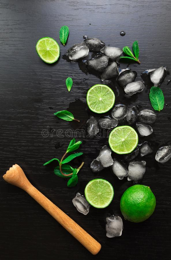 Limefrukter, mintkaramellsidor och iskuber royaltyfri bild