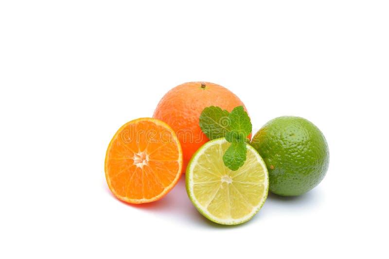 Limefrukter och tangerin på vit royaltyfri bild