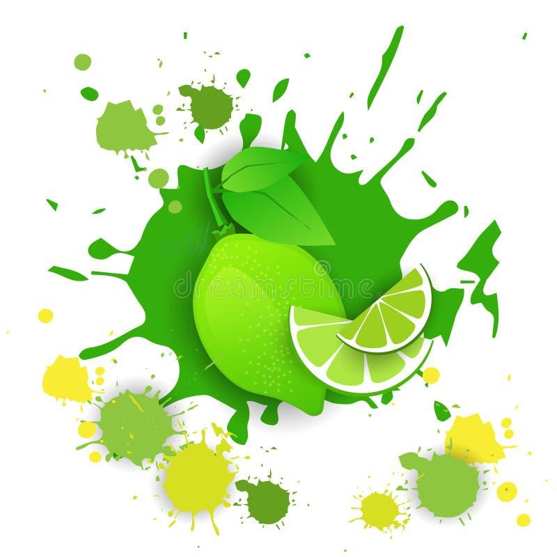 LimefruktfruktLogo Watercolor Splash Design Fresh naturlig mat vektor illustrationer